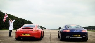Mercedes AMG GTS vs Porsche 911 Carrera GTS – Top Gear: Drag Races